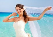 14632932 - young brunette bride and the blue sea